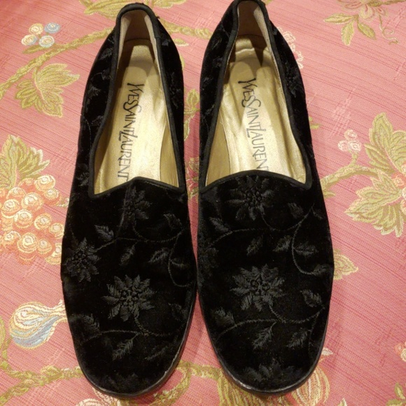 8e7852fee18 Yves Saint Laurent Shoes | Yves St Laurent Ysl Velvet Floral Flats ...